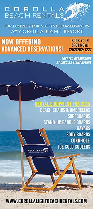Corolla Beach Rentals Rack Card